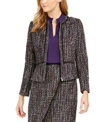 calvin klein petite tweed zip-front collarless jacket