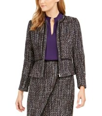 calvin klein petite tweed zip-front collarless jacket