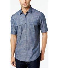 alfani men's warren textured short sleeve shirt, created for macy's