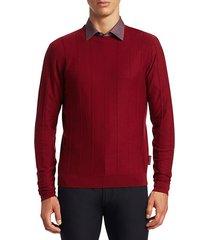 vertical stitch crew sweater