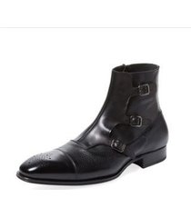 handmade mens fashion tripple monk closure boots, men cap toe ankle leather boot