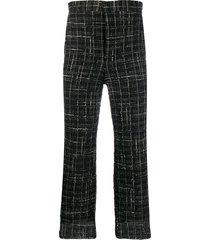 thom browne frayed ribbon tweed chino trousers - black