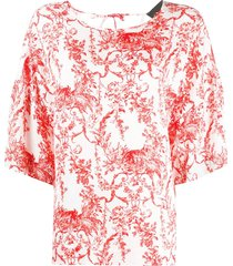8pm loose-fit floral top - red