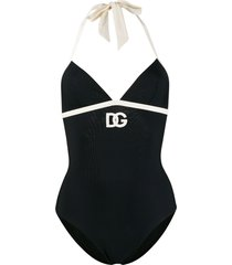 dolce & gabbana embroidered dg logo swimsuit - black