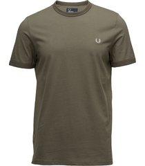 ringer t-shirt t-shirts short-sleeved grön fred perry