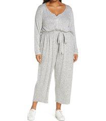 plus size women's bobeau brushed tie waist sweater jumpsuit, size 1x - grey