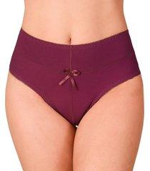calcinha vip lingerie cintura alta algodão bordô