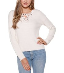 belldini black label long sleeve lace up v-neck pullover