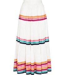 zimmermann lulu stripe-pattern midi skirt - white