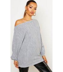 oversized rib knit batwing sweater, silver