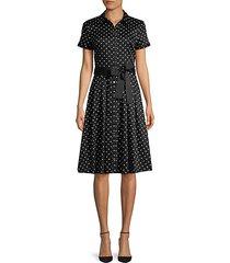 dot-print button-front dress