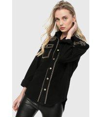 chaqueta negro-plateado paris district