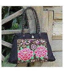 cotton shoulder bag, 'pink peony' (thailand)
