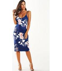 azul marino profundo v cuello mini estampado floral al azar vestido