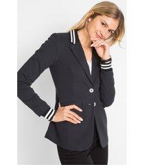 blazer van katoen-jersey met gestreepte details