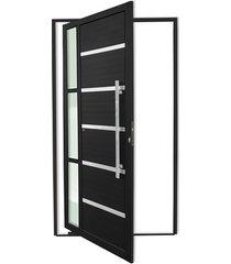 porta pivotante esquerda com lambri e puxador em alumínio miraggio 210x100cm preta