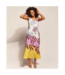 vestido feminino emi beachwear longo estampado folhagem meninas alça fina decote v multicor