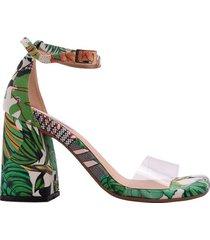 sandalia tacon fenty mercedes campuzano de mujer-estampado verde