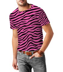 zebra print bright pink mens cotton blend t-shirt