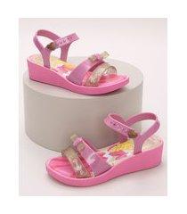 sandália infantil grendene bela adormecia salto baixo com tiras e laço pink
