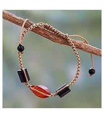 onyx and agate cord bracelet, 'midnight flame' (india)