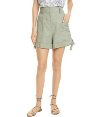 women's rebecca taylor tie hem twill shorts, size 14 - green