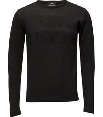 100% light wool klap stickad tröja m. rund krage svart mads nørgaard