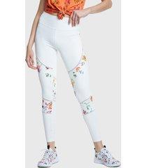 legging desigual blocking legging gardens blanco - calce ajustado