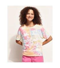 "blusa feminina ampla bahia do brasil"" estampada tie dye manga curta decote redondo multicor"""