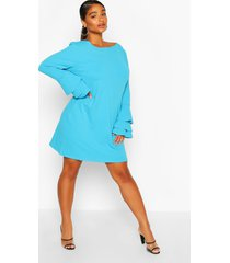 plus jurk met mouw franjes, turquoise