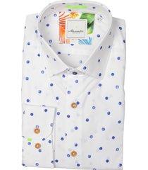 bos bright blue overhemd wit met stip mf 21.20sh007.5/304