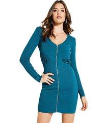 vestido ls reversible zip front azul guess