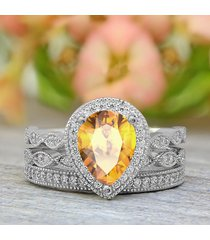 1.60 ct pear citrine & diamond bridal engagement ring set 18k white gold plated