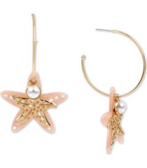betsey johnson gold-tone imitation pearl & starfish charm convertible hoop earrings