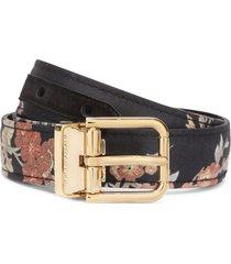 dolce & gabbana floral-print silk belt - black