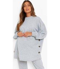zwangerschap borstvoeding sweater met knopen, grey marl