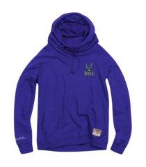 mitchell & ness women's milwaukee bucks funnel neck fleece hoodie