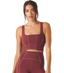 glyder women's corseted yoga sports bra - merlot/white x-small nylon/elastane
