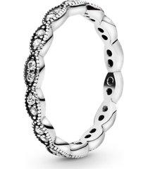 anel de prata delicada folha encantada