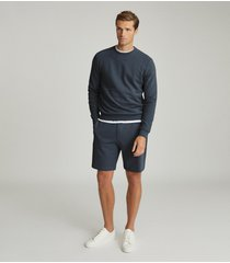 reiss belsay - garment-dyed jersey shorts in airforce blue, mens, size xxl