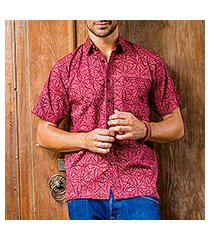 men's batik cotton shirt, 'indonesian intricacy' (indonesia)