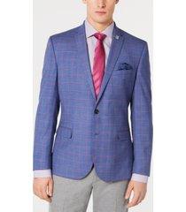 nick graham men's stretch slim-fit windowpane sport coat