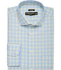 pronto uomo blue & yellow plaid dress shirt