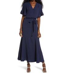 women's fraiche by j ruffle sleeve faux wrap dress, size large - blue