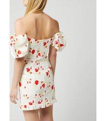 de la vali women's koko dress printed dress - white rose print - uk 12