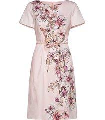 dress woven fabric jurk knielengte roze gerry weber