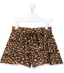caffe' d'orzo teen rosanna leopard-print shorts - neutrals