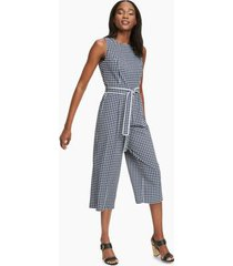 tommy hilfiger women's essential gingham jumpsuit sky captain / ivory - 12