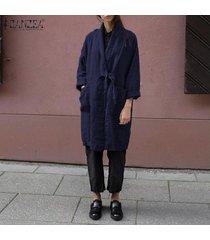 zanzea mujeres spring cardigan kimono tie up loose plus size tunic coat hot -azul marino