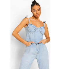 denim crop top met strik, ice blue